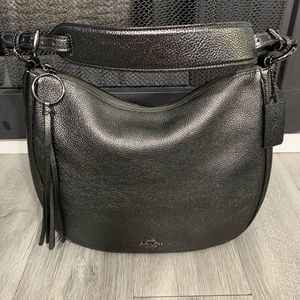 Coach Metallic Grey Graphite Leather Hobo Bag